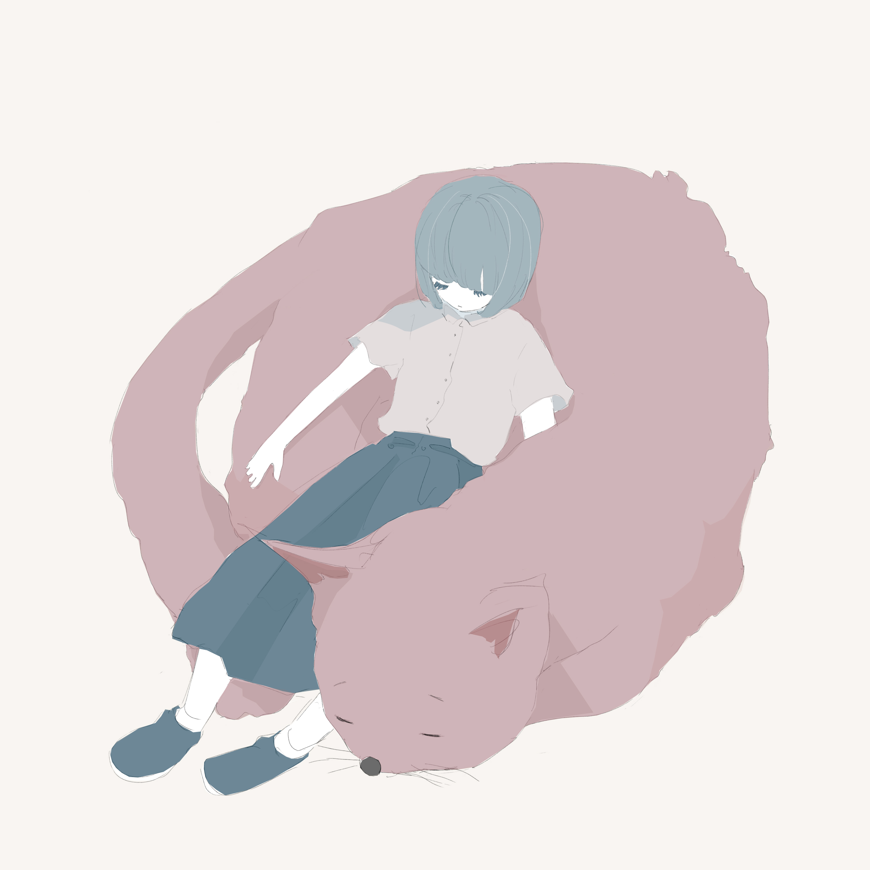 寝ている女の子と猫