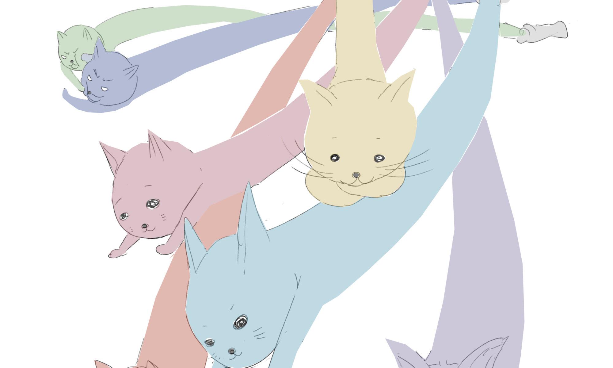 猫型絵の具のイラスト
