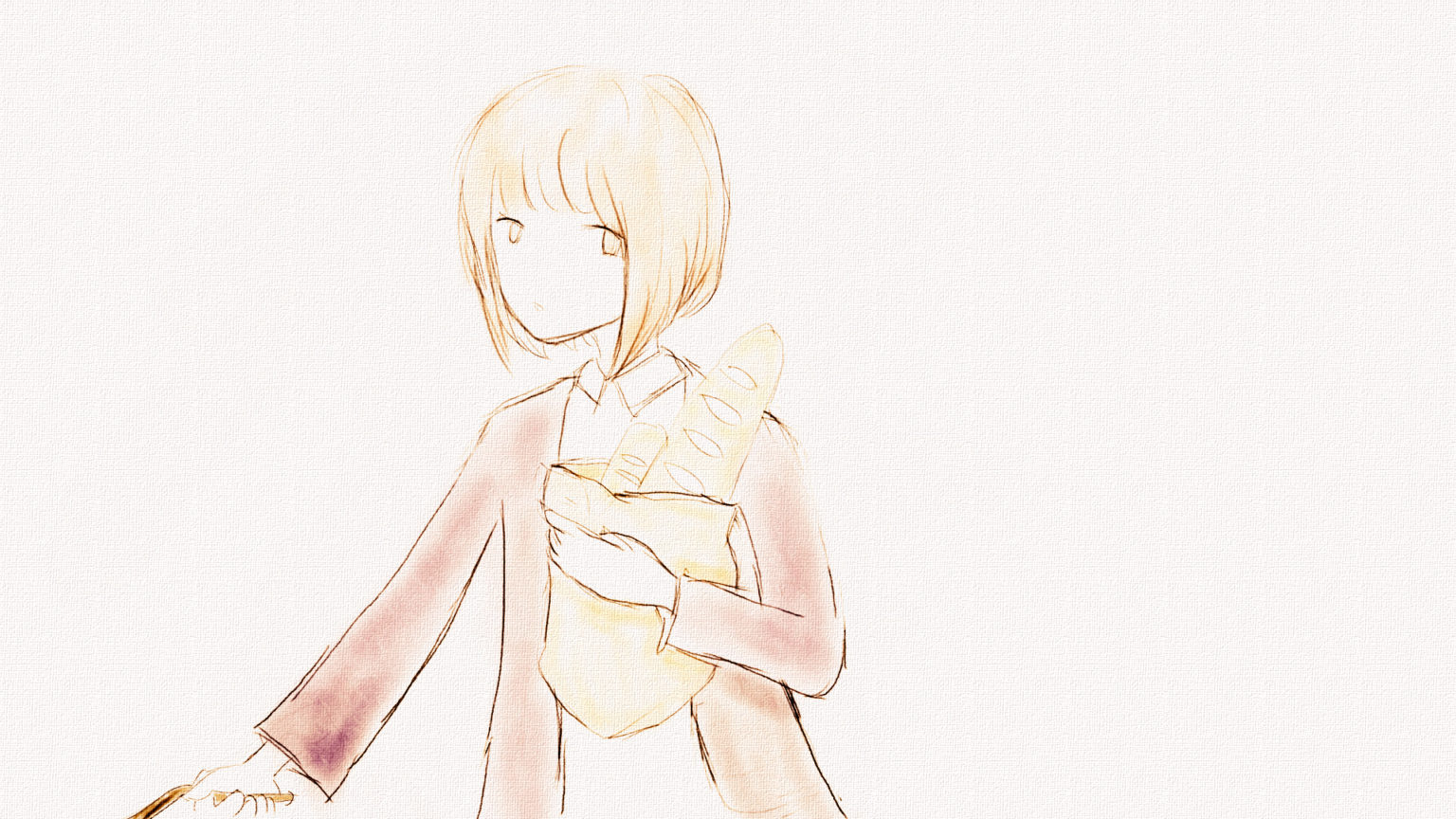 パンを持っている女の子のイラスト