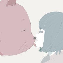 巨大猫と女の子