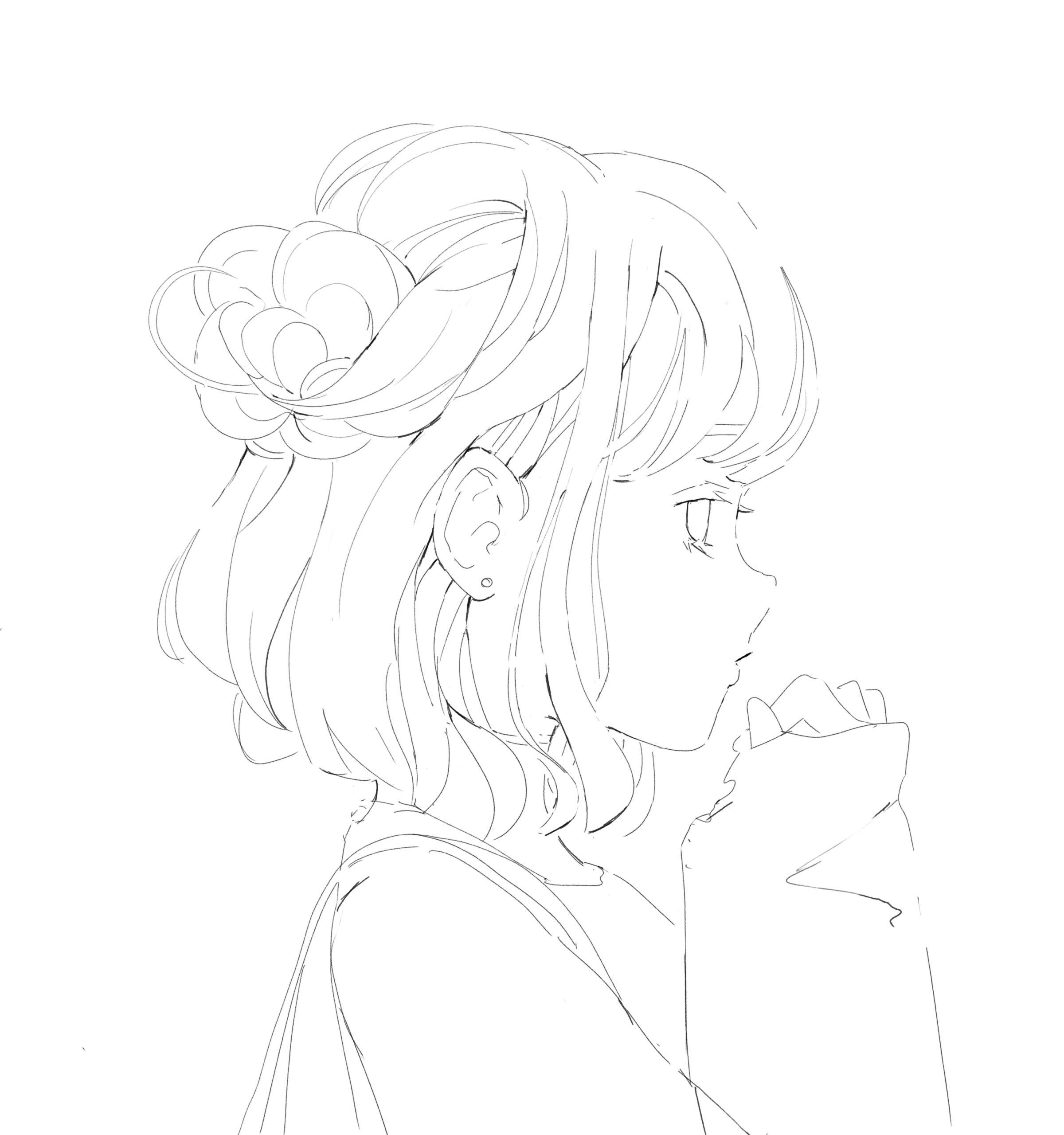 ハーフアップの女の子の線画