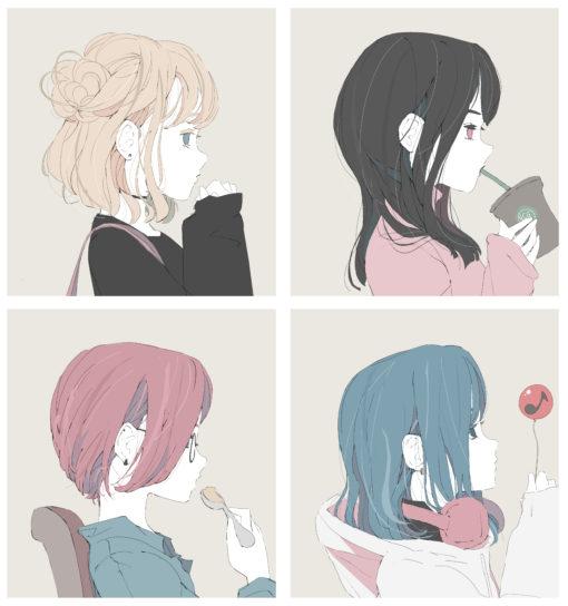 4人の女の子の横顔のイラスト