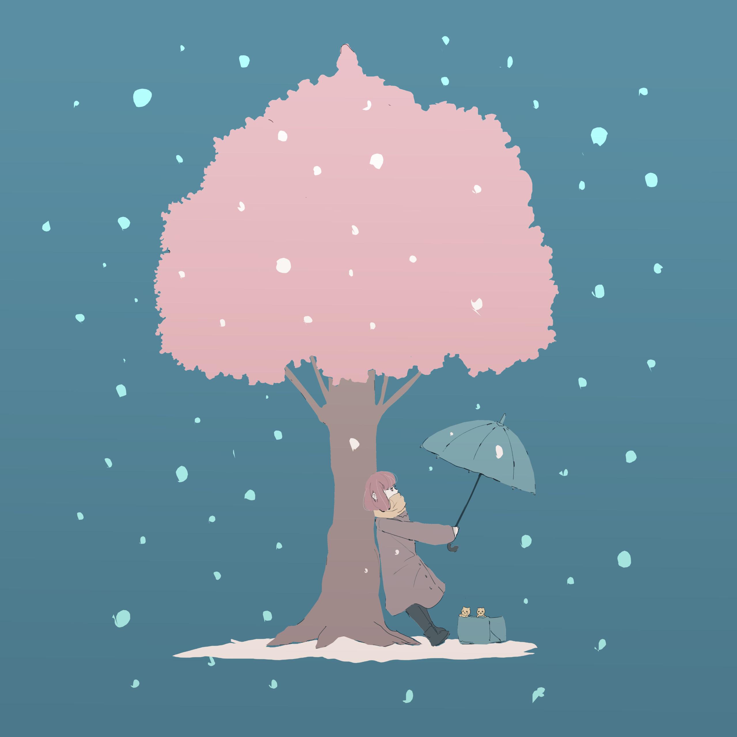 雪の中咲き誇る桜と女の子のイラスト