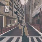 夜の街にたたずむ女の子のイラスト