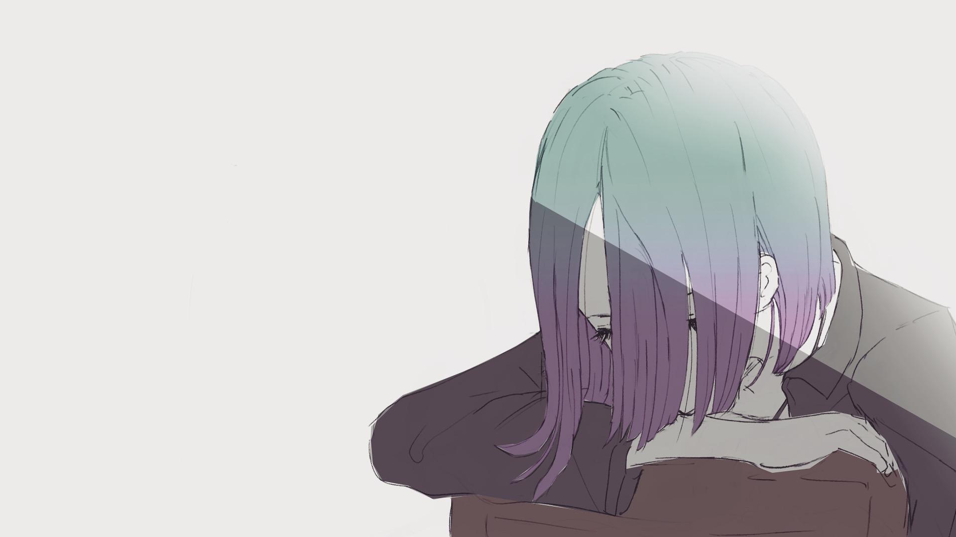 うたたねするショートカットのグラデ髪の女の子のイラスト