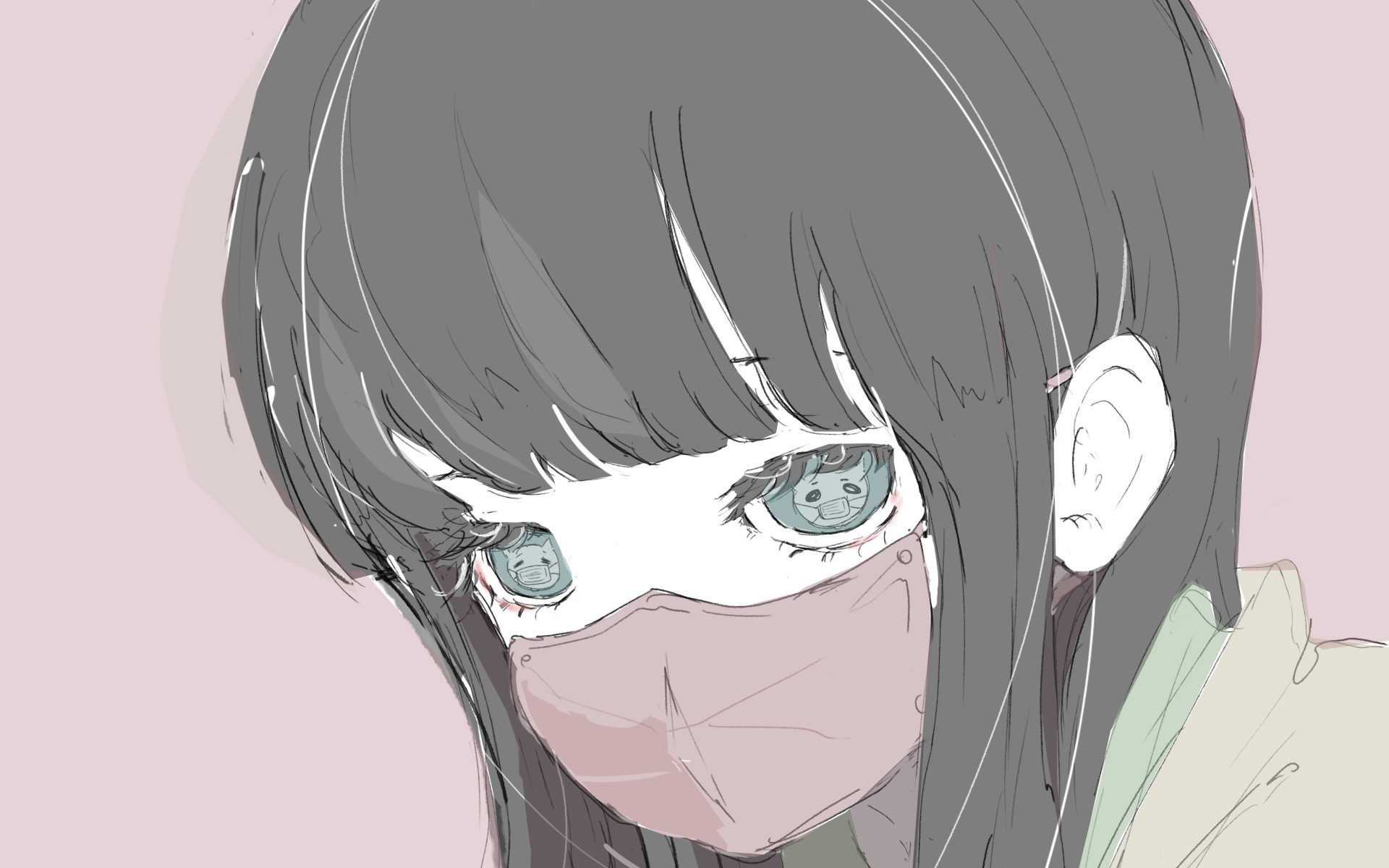 マスクの猫目の女の子のイラスト