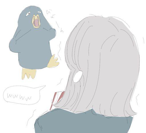 銀髪の女の子を笑わせるペンギン