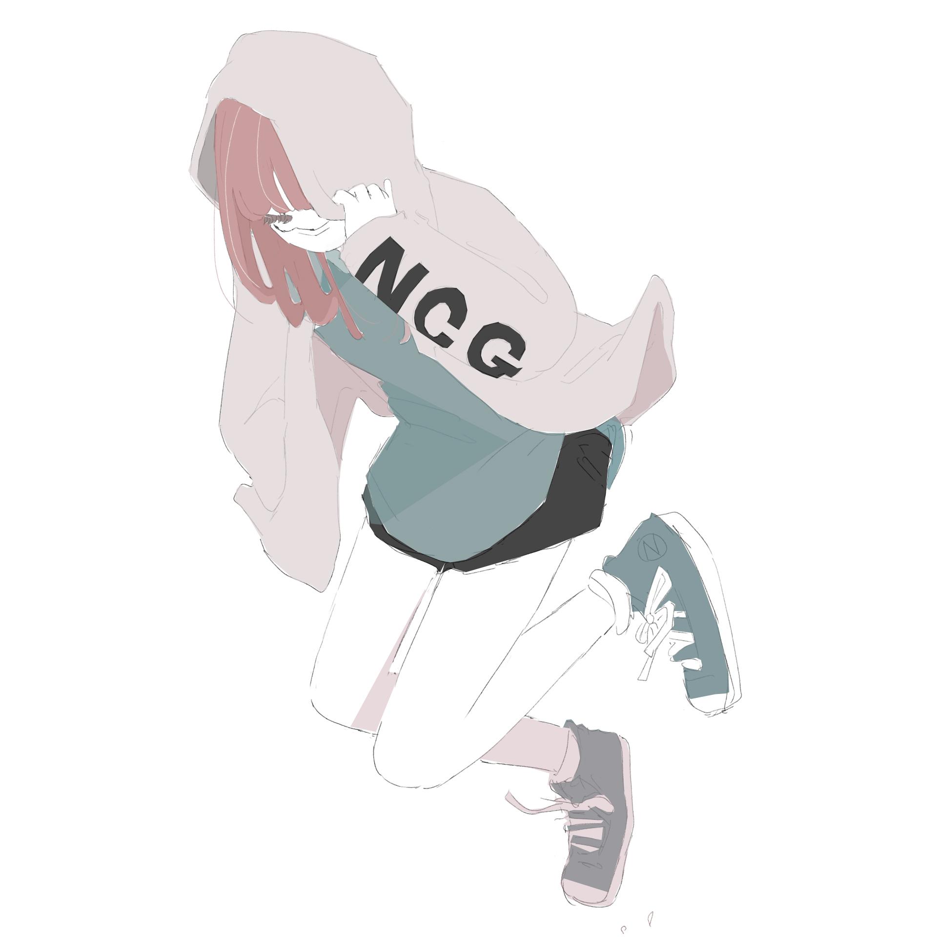 パーカー女子の走り幅跳びのフリーイラスト