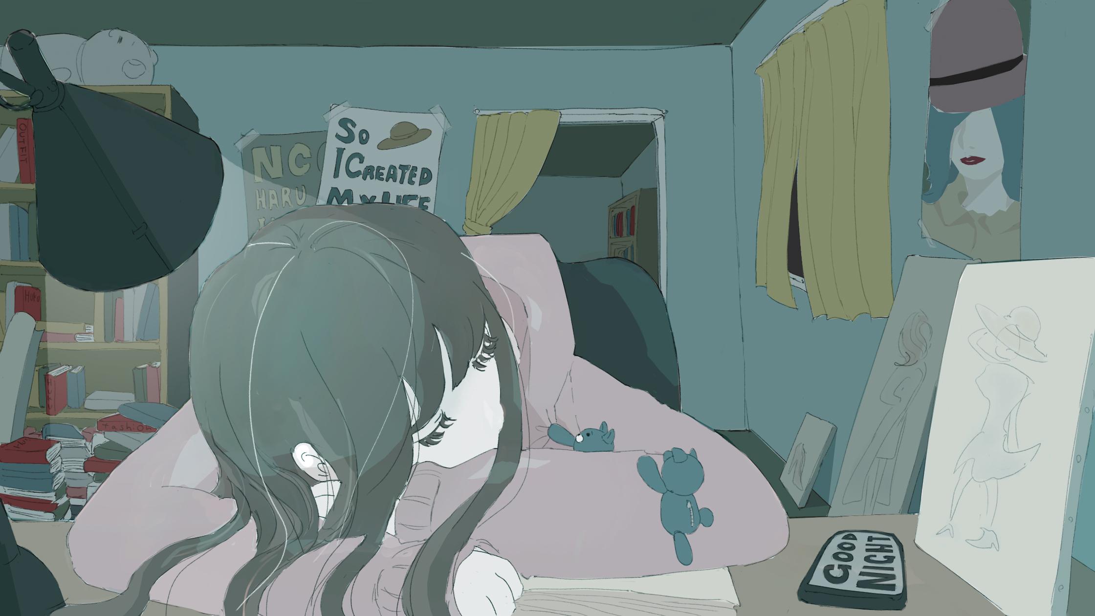 勉強中に寝てしまう女の子のフリーイラストと心配する小くま
