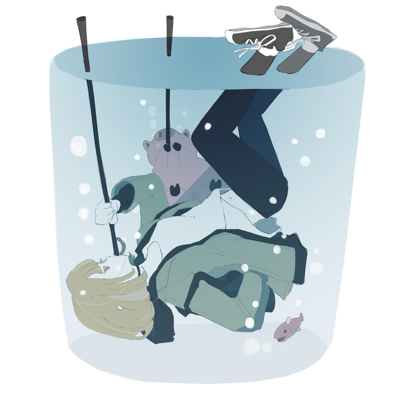 水とんの術/水の中でブタとぶくぶく