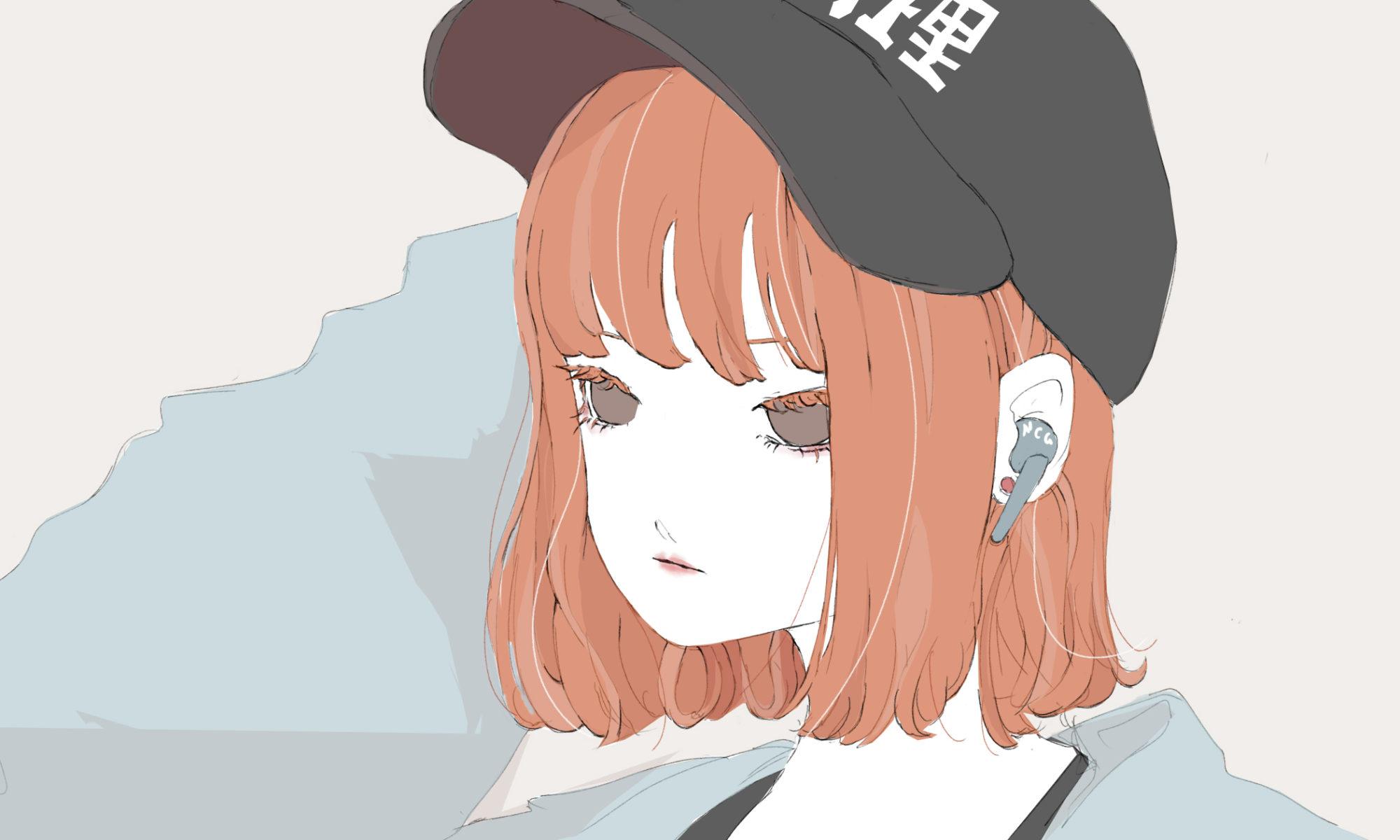 キャップかぶって音楽聴く渋谷女子のフリーイラスト