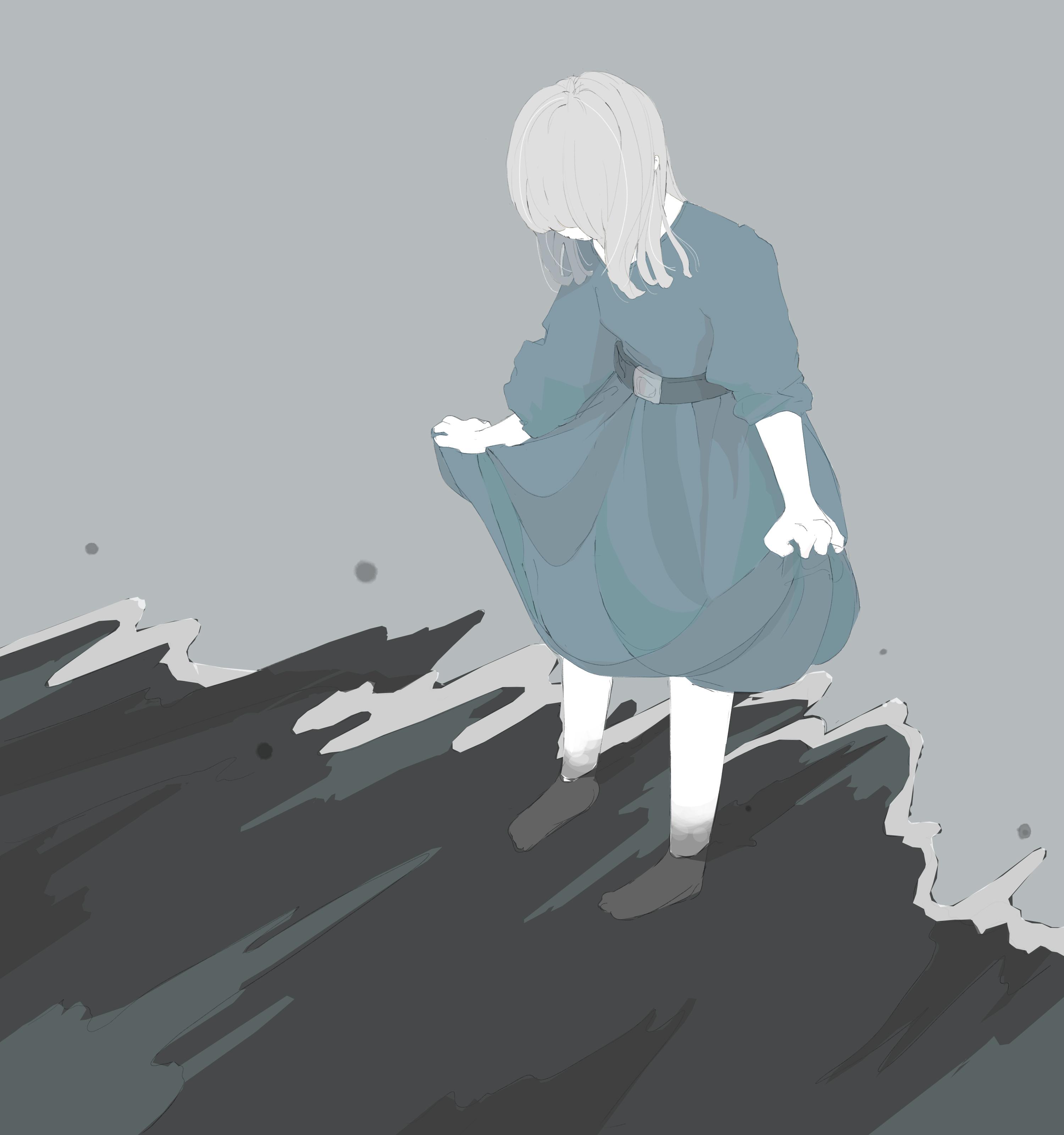 闇に染まりそうな女の子のフリーイラスト