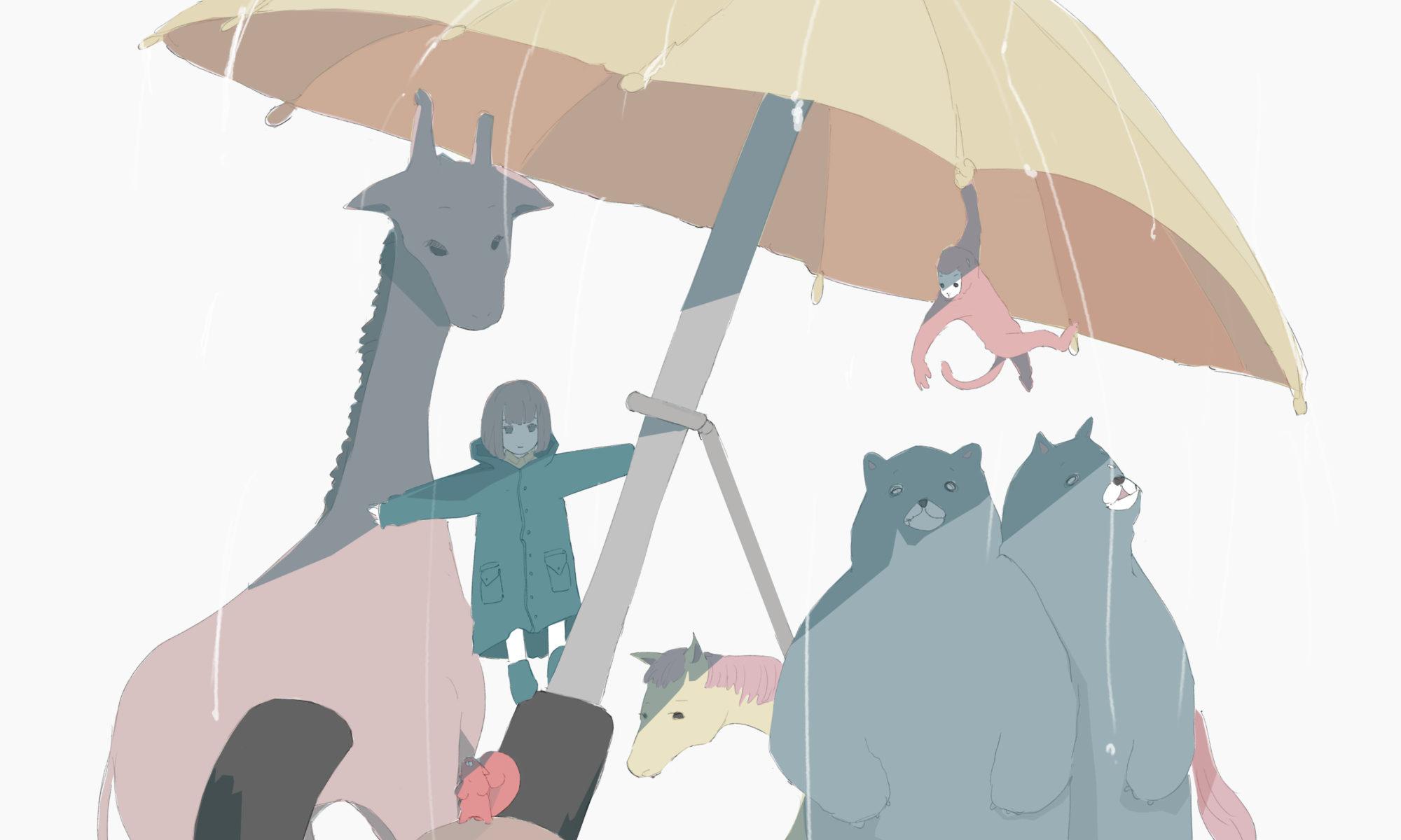 巨大傘でみんなと雨宿りのフリーイラスト
