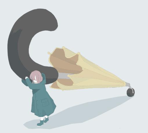 巨大傘を転がす女の子のフリーイラスト
