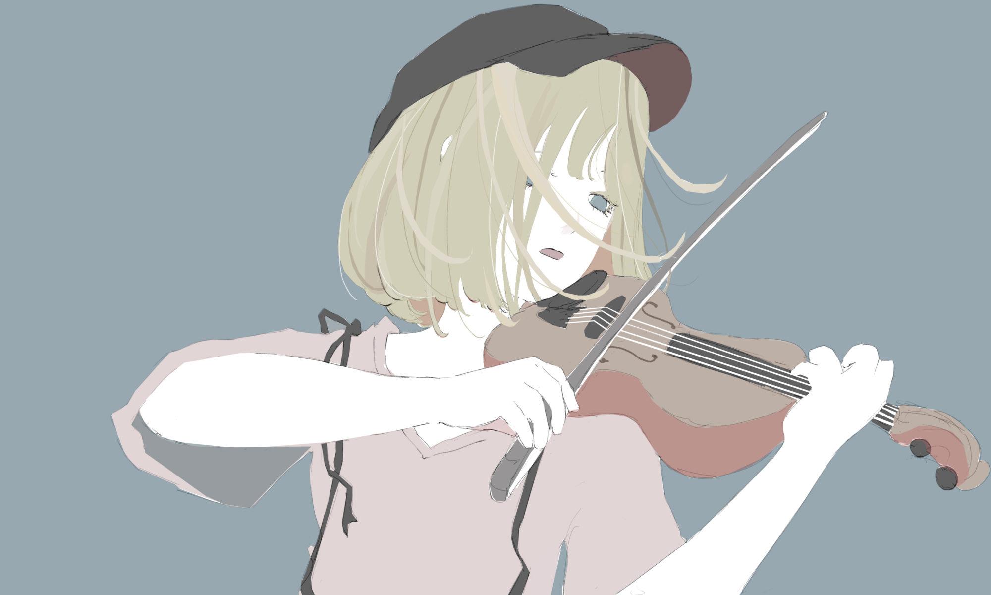 バイオリンを弾く女の子のフリーイラスト