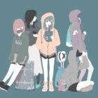 パーカー女子6人のフリーイラスト