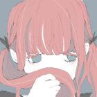 髪の匂いをかぐ女の子のフリーイラスト