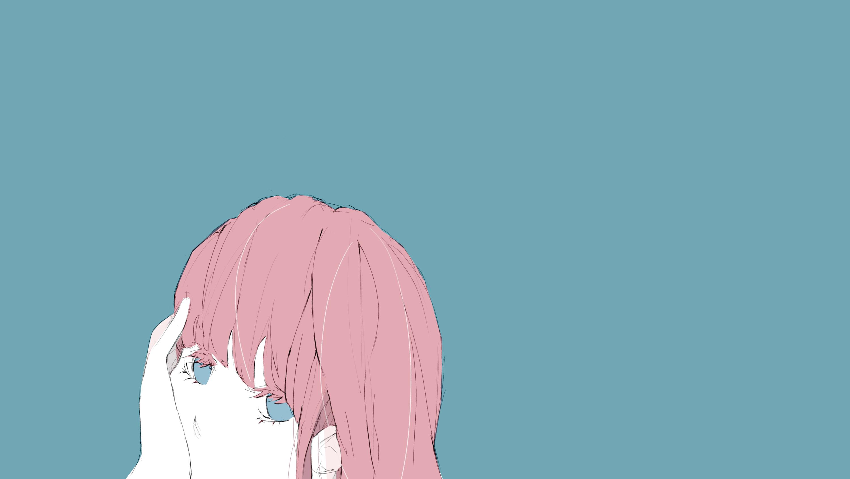頬杖つく女の子のフリーイラスト