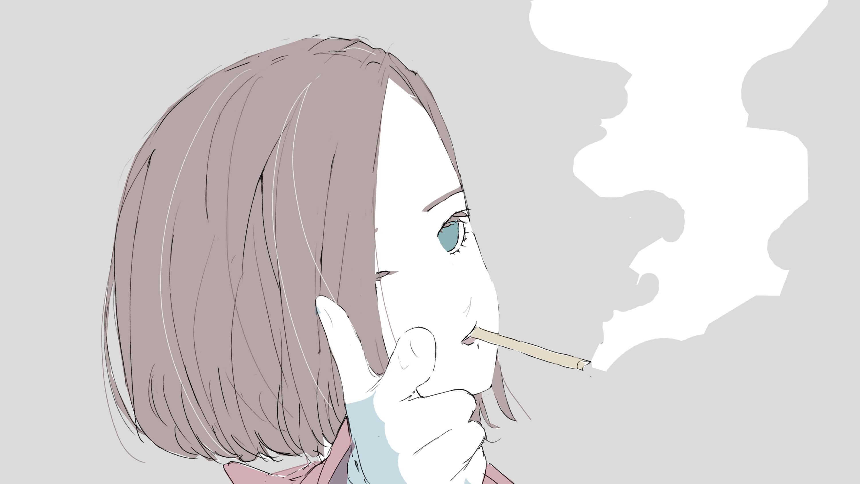 煙草吸うクール女子のフリーイラスト