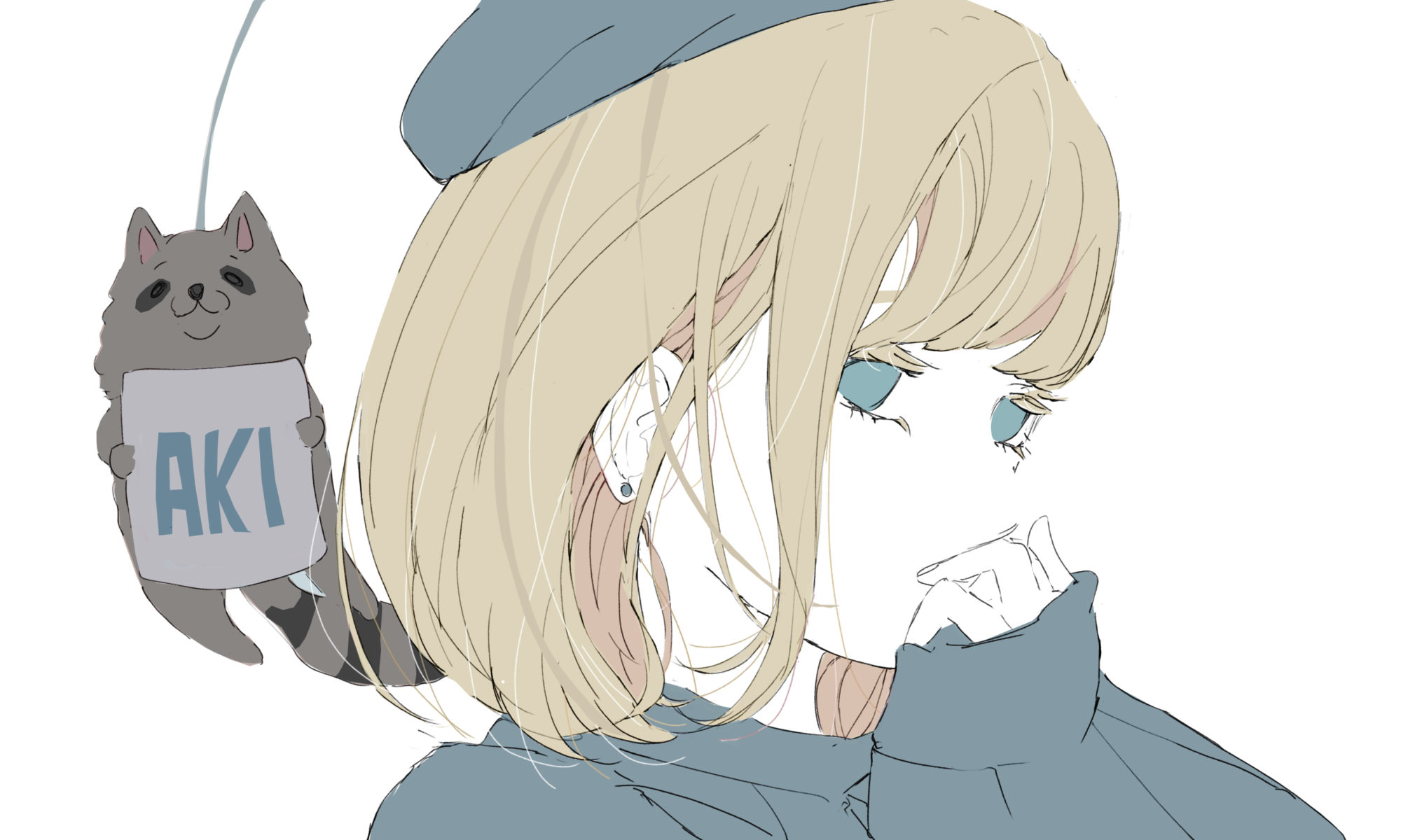 秋の気配を感じる女の子とぶらさがるたぬきのフリーイラスト