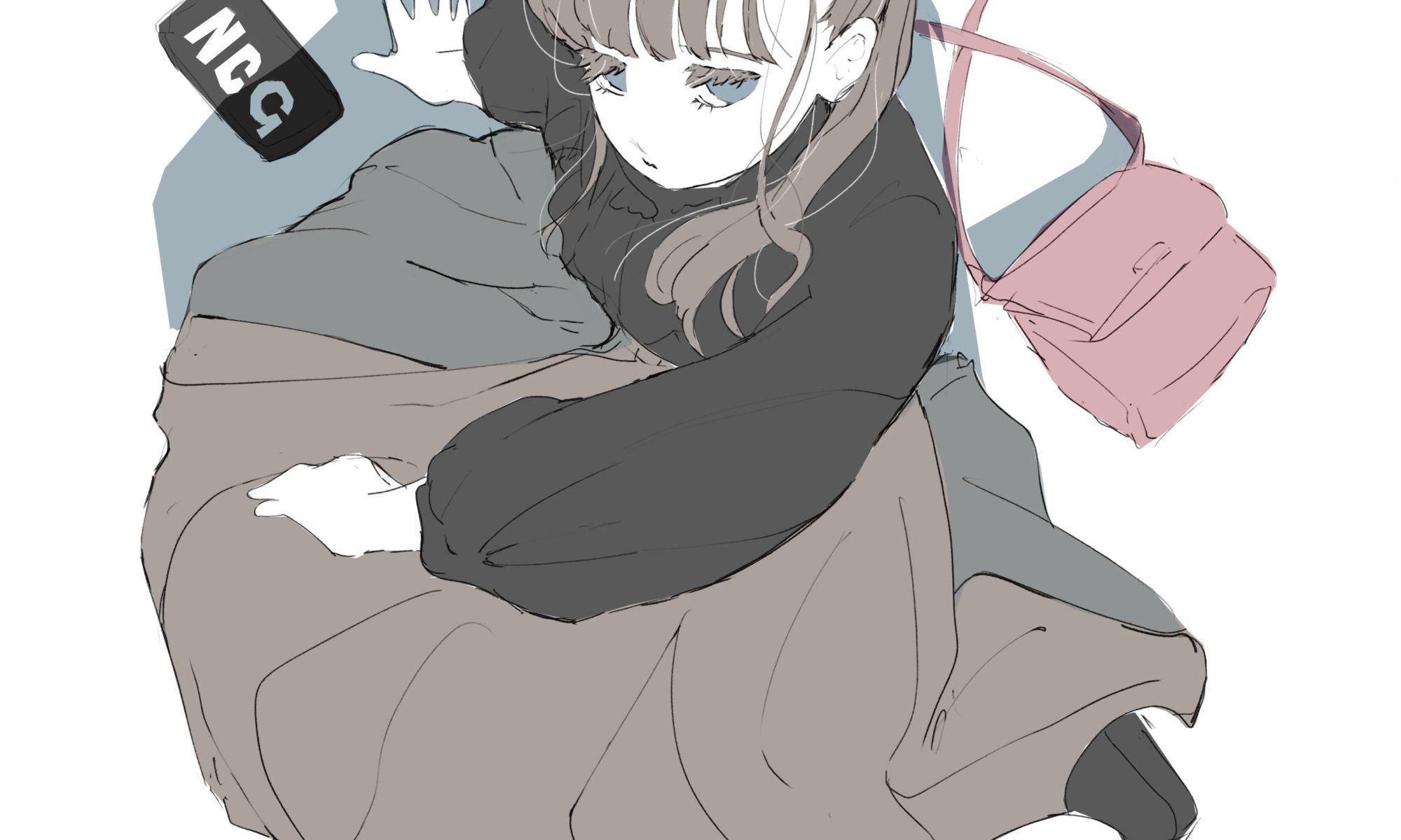 休憩する女の子のフリーイラスト
