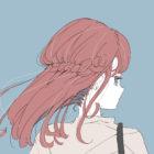 風で髪がなびく女の子のフリーイラスト