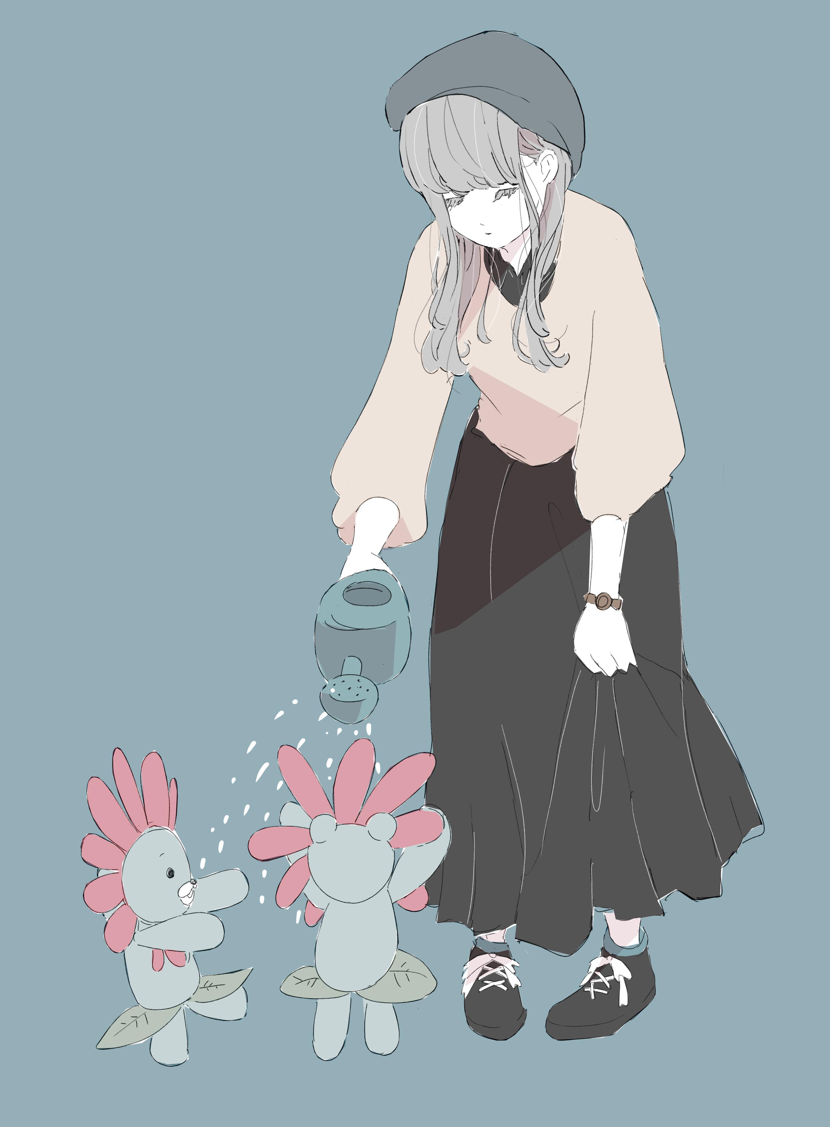 花に水をあげる女の子のフリーイラスト