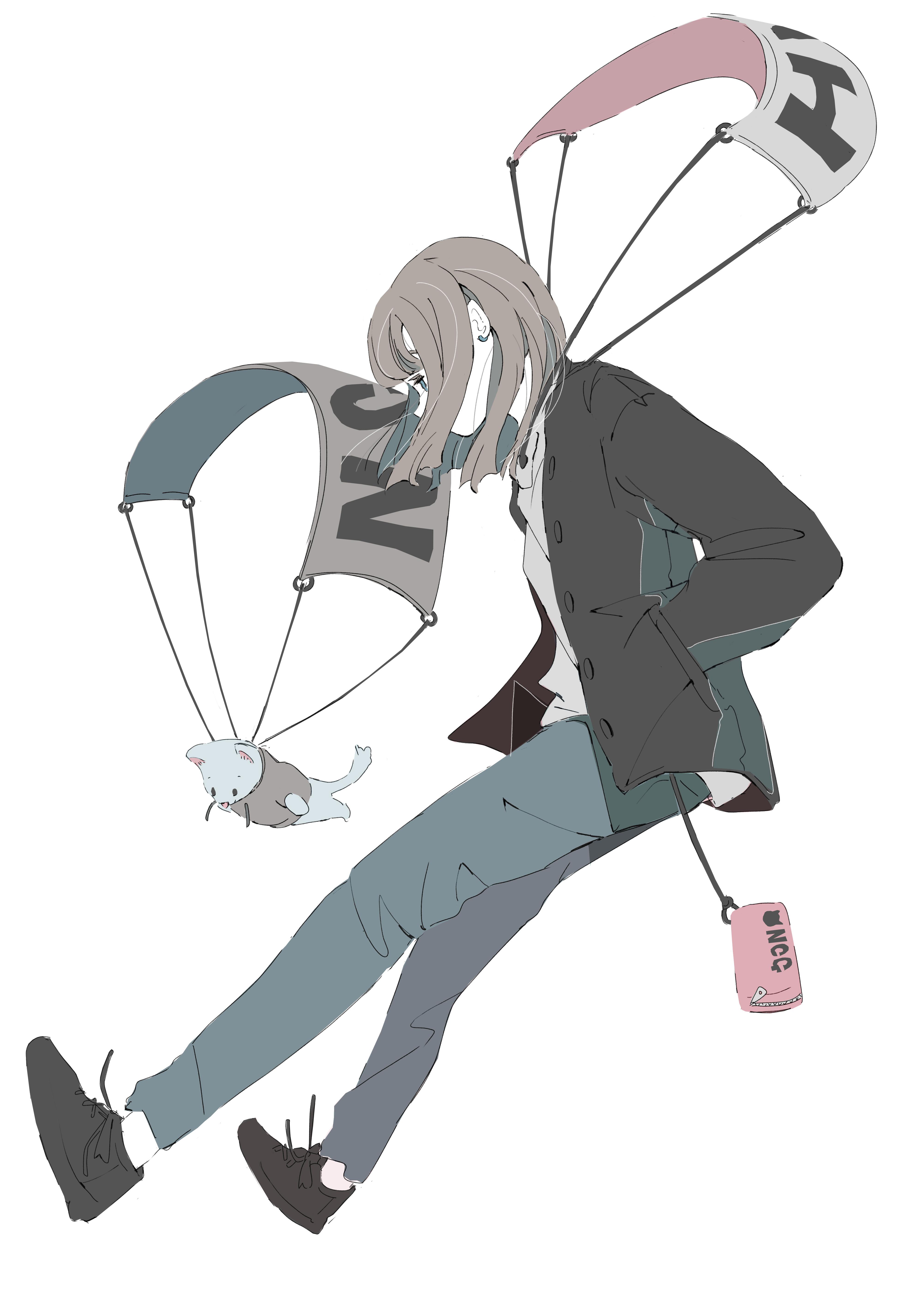 パーカーの女の子が空を飛ぶイラスト