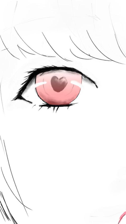 女の子の赤い瞳のイラスト