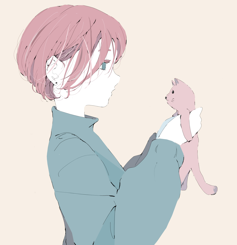 ショートヘアの女の子と猫のイラスト