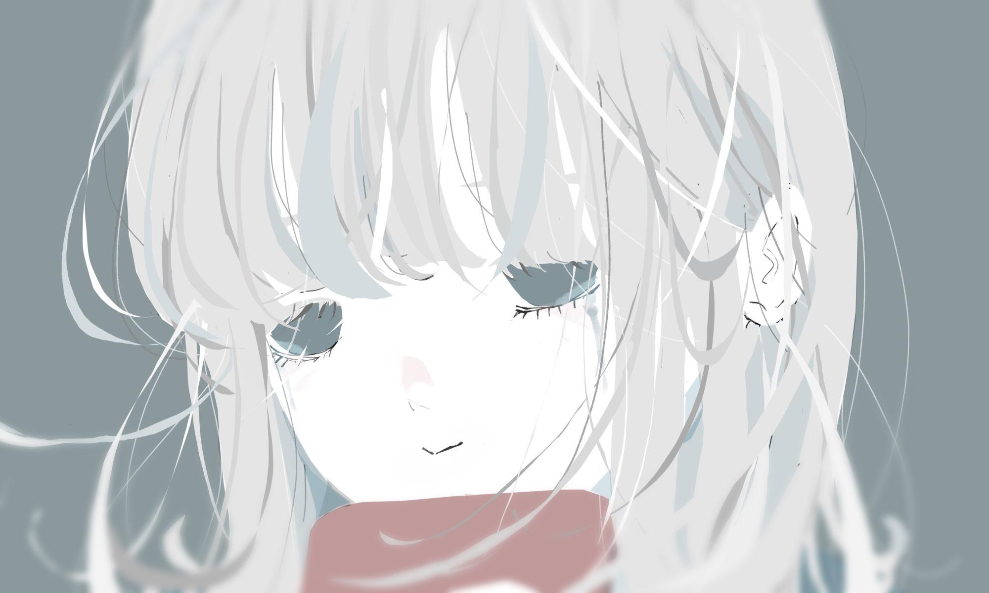 泣きながら笑う銀髪の女の子