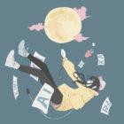 満月の風船で空を飛ぶ女の子のイラスト