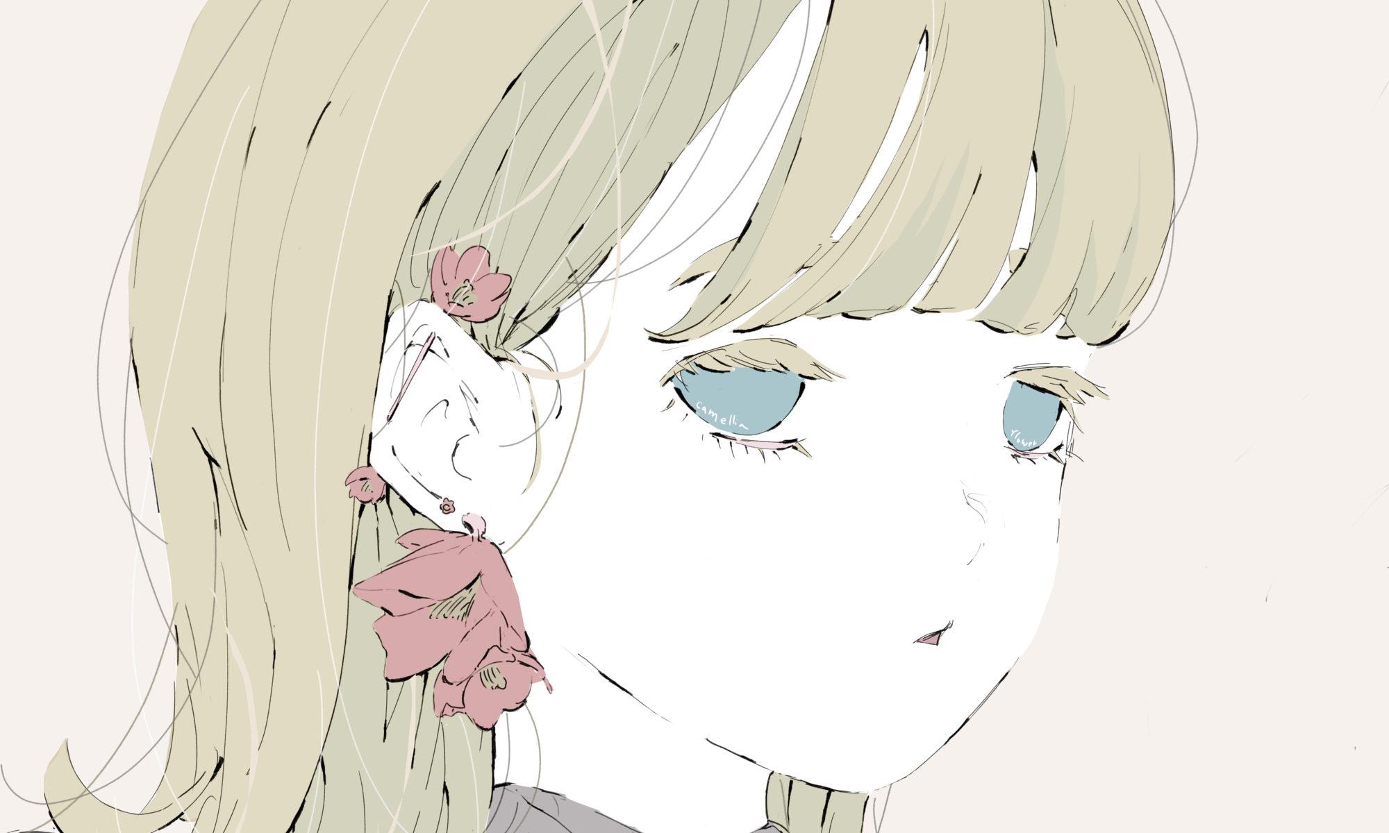 椿の花のピアスの金髪の女の子のイラスト