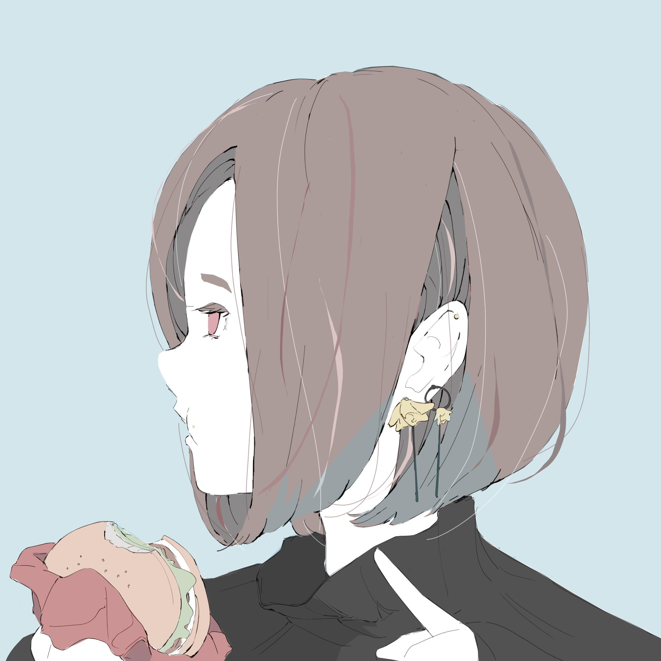 ハンバーガーを食べるショートカットの女の子のイラスト