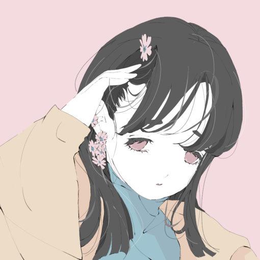 プリムラの花のピアスの黒髪ロングの女の子のイラスト