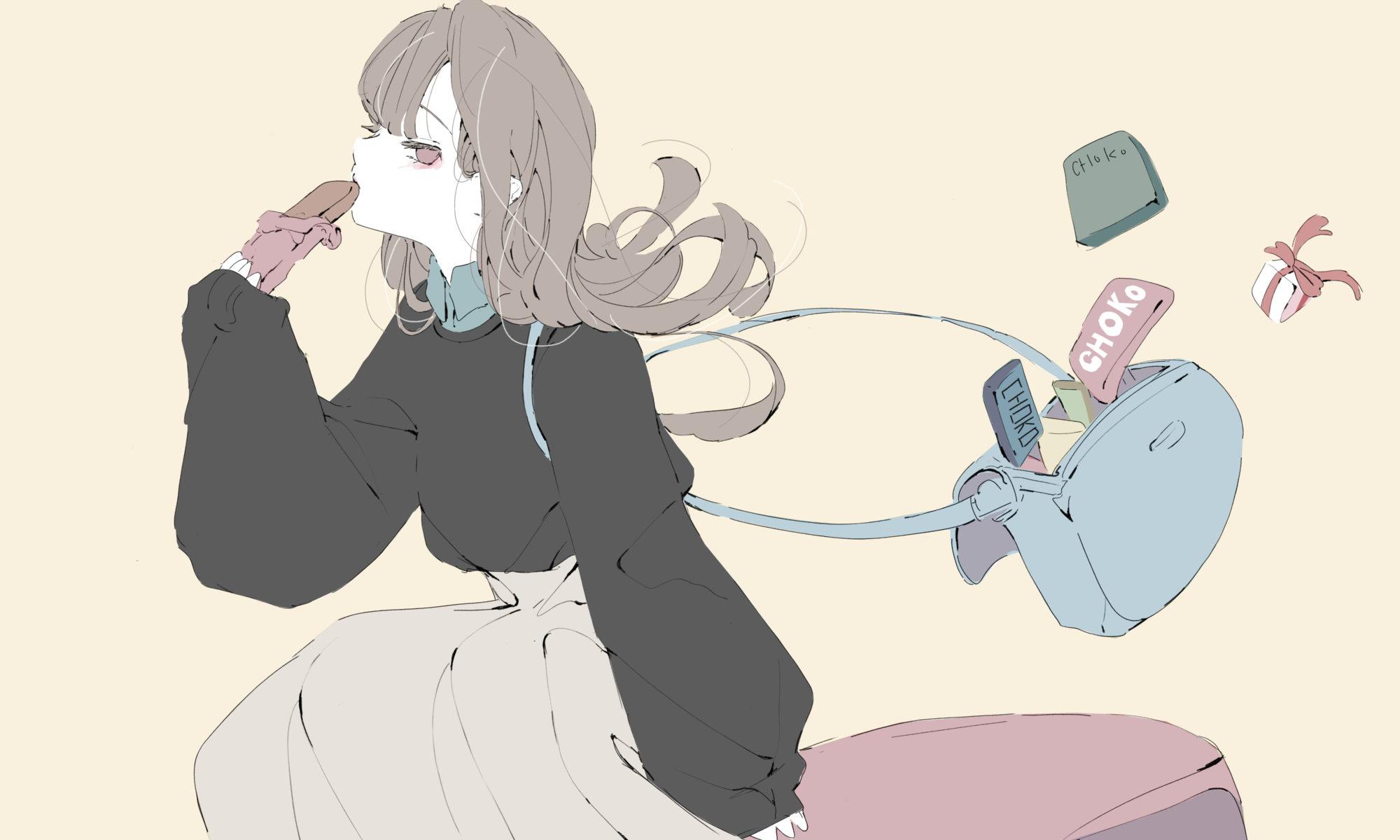 バレンタインチョコを食べる女の子のイラスト