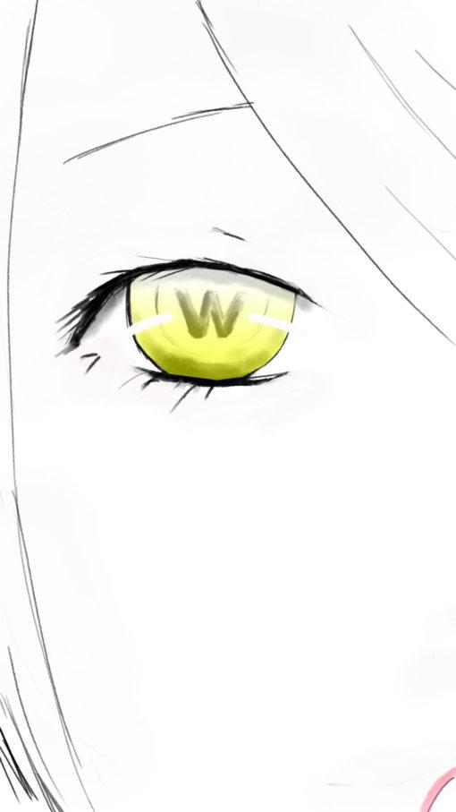 女の子の黄色い瞳のイラスト
