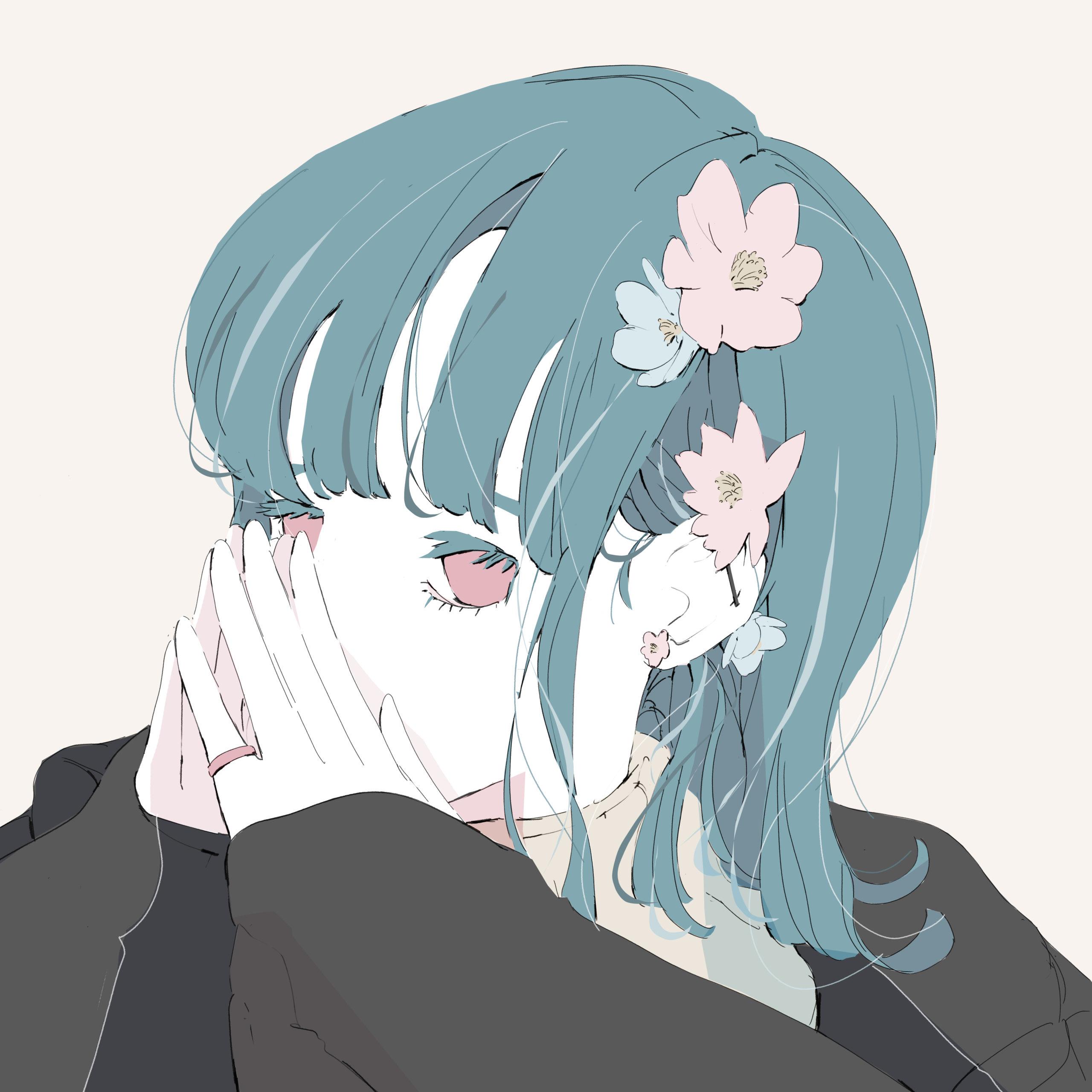 花のかわいいピアスの青髪の女の子のイラスト