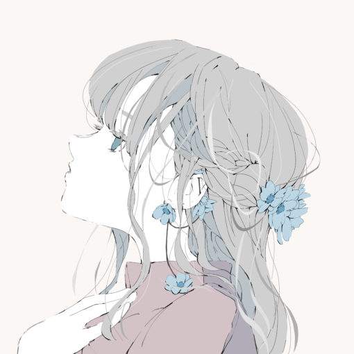 アネモネの花のピアスと髪飾りのハーフアップの女の子のフリーアイコン