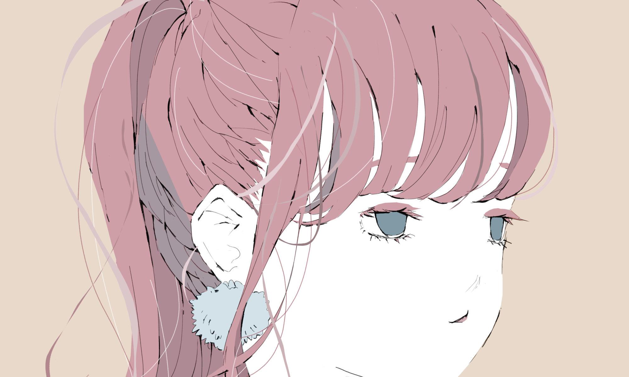 ハリネズミと女の子のイラスト