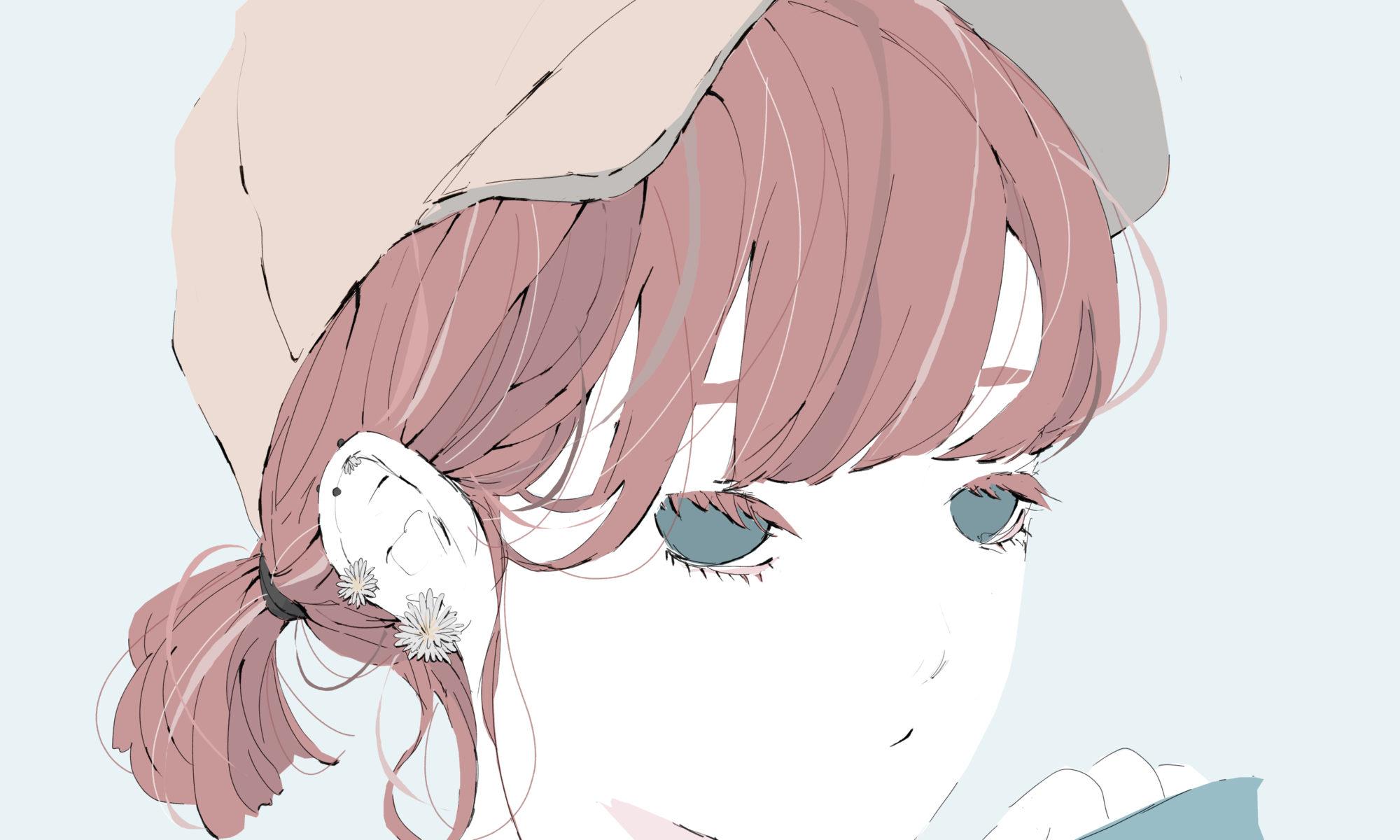 たんぽぽのピアスの女の子のイラスト