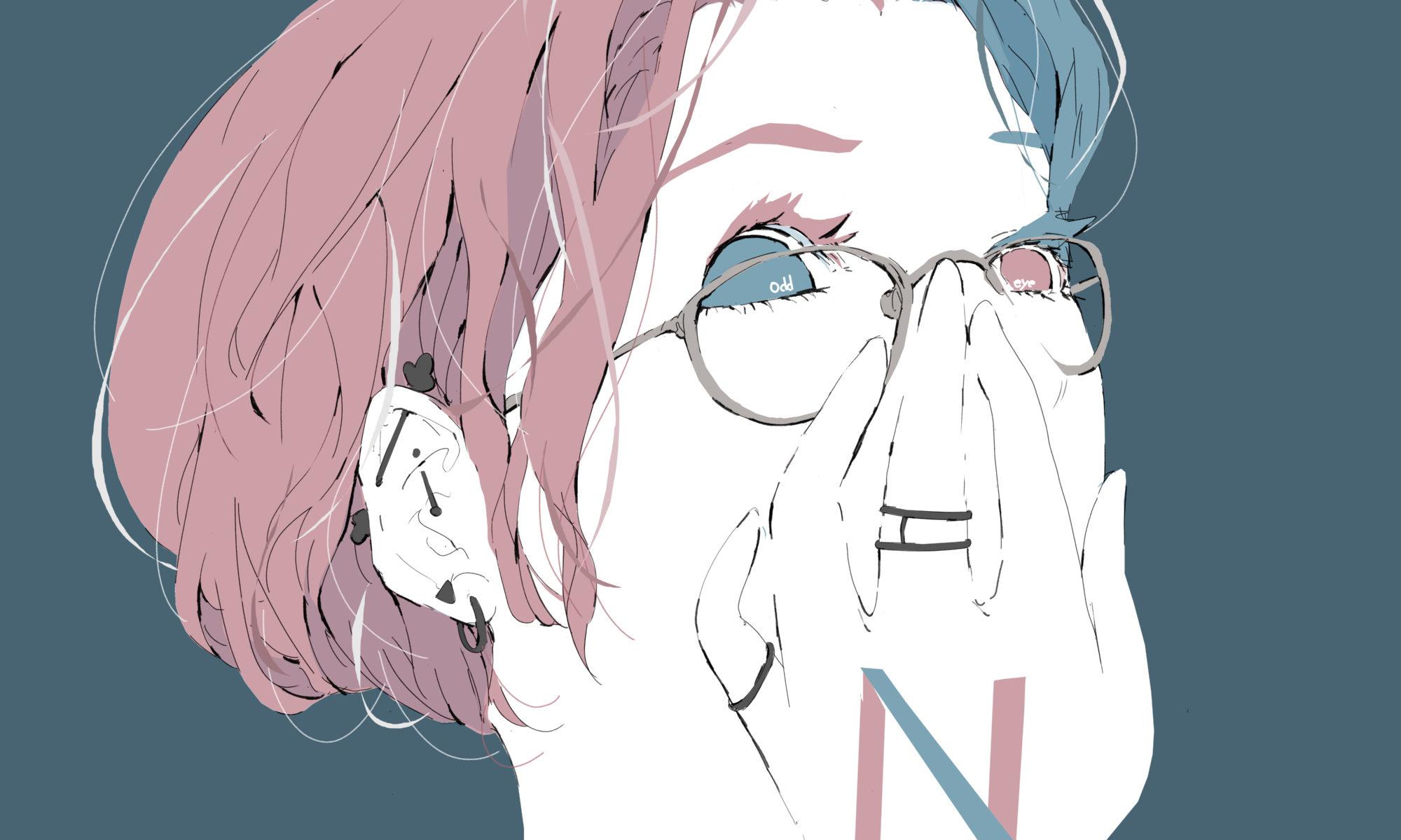 オッドアイのメガネをかけたショートカットの女の子のイラスト