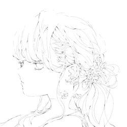 サクラソウの女の子の線画イラスト