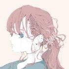 花のピアスの女の子のイラスト