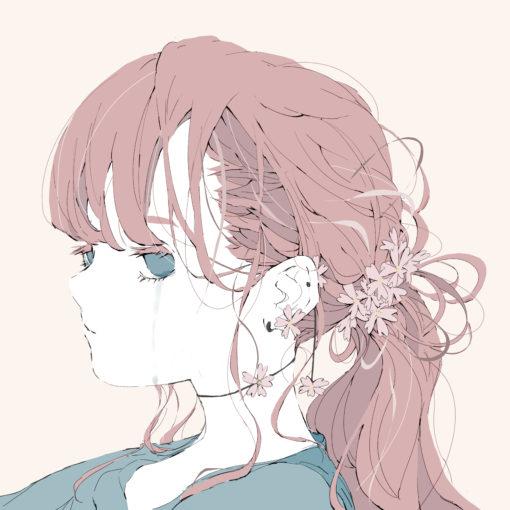 サクラソウのピアスと髪飾りをしている泣いている女の子のイラスト