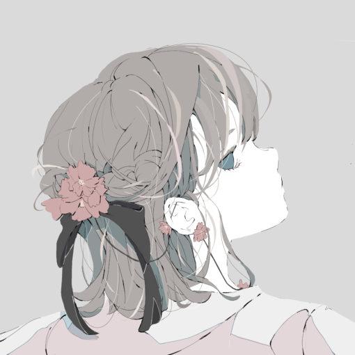 ヒナゲシの花の髪飾りをしているリボンの女の子のイラスト