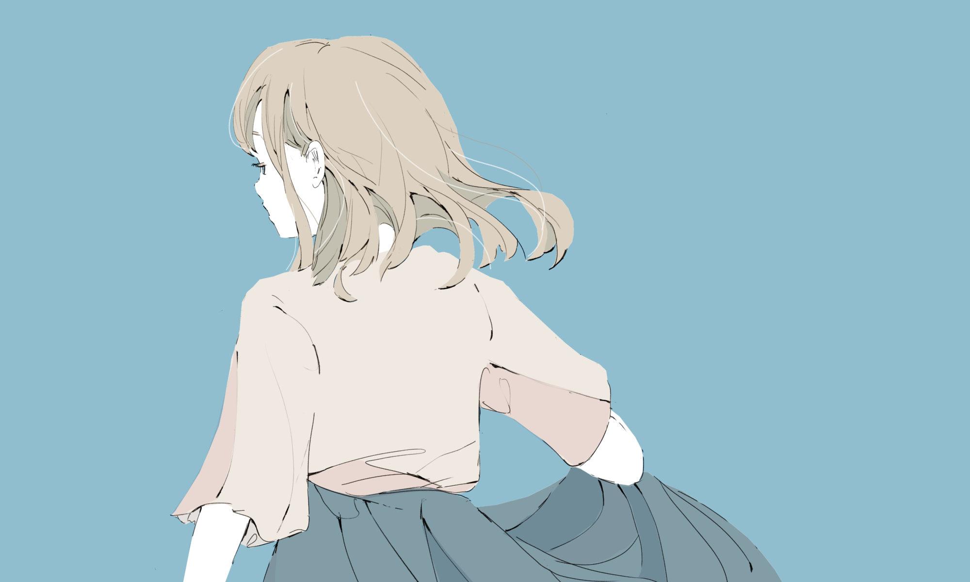金髪とロングスカートの女の子 イラスト