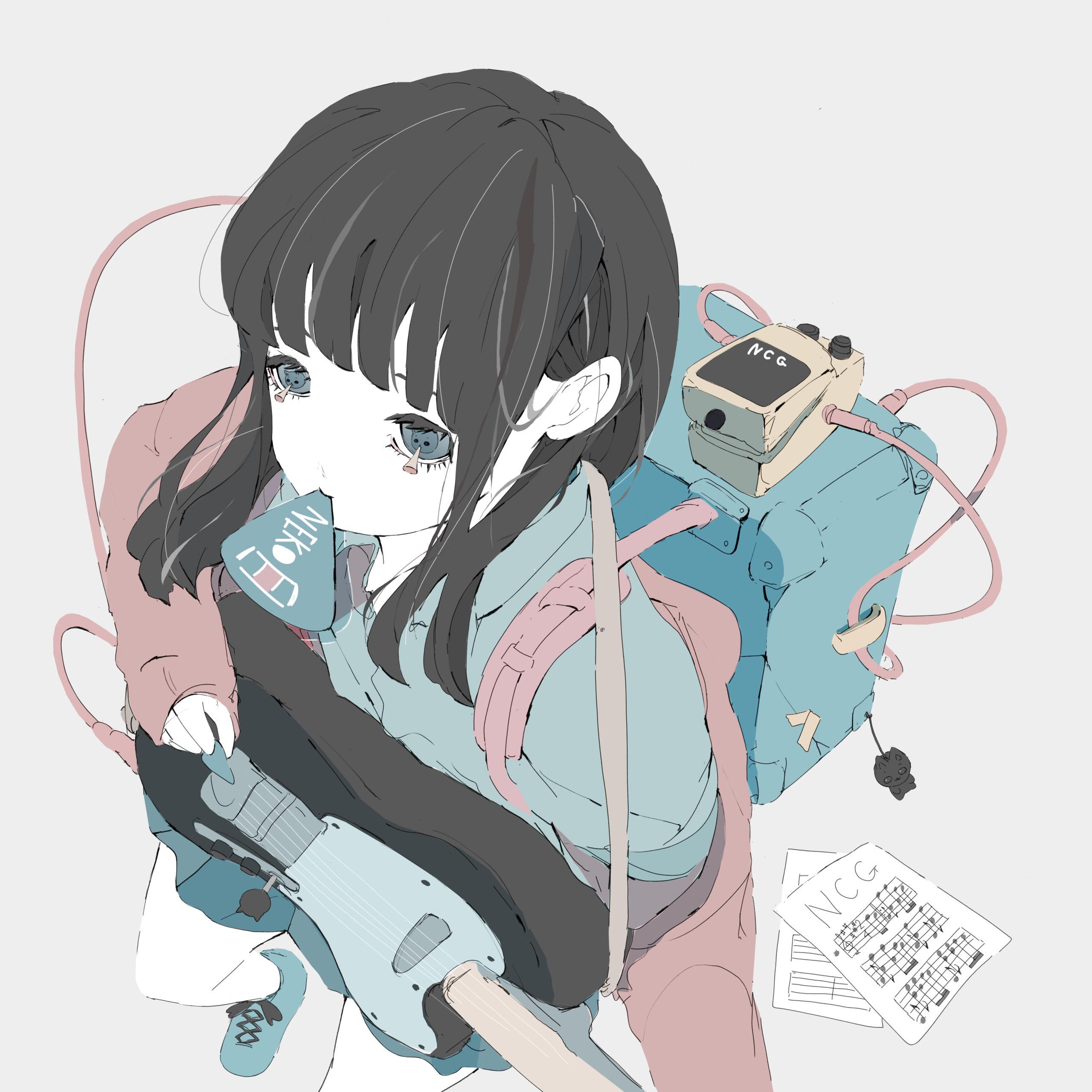 アンプを背負ってギターを弾いている猫目の女の子のイラスト