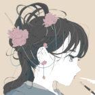 シャクナゲのピアスと髪飾りをしている女の子のイラスト