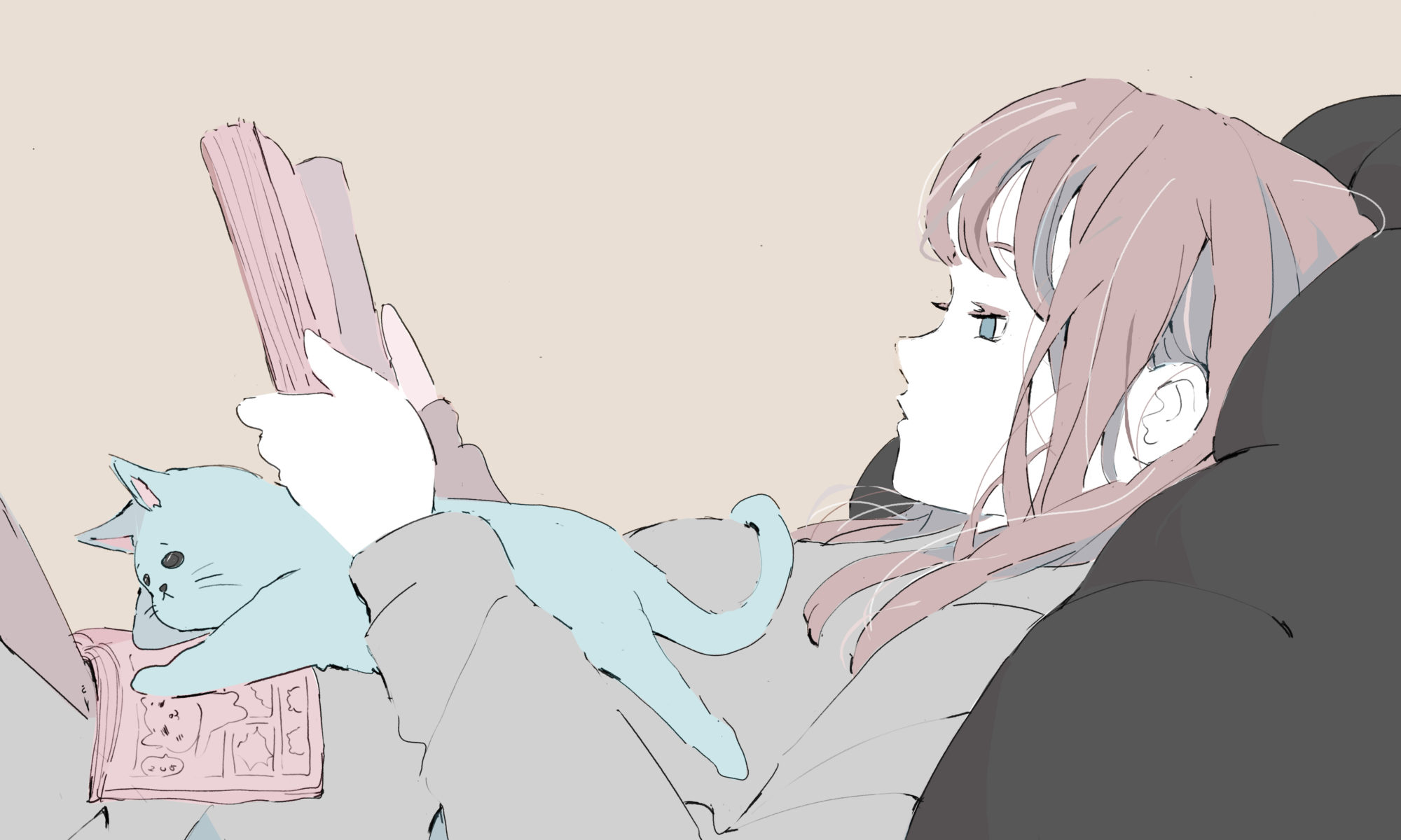 本を読みながらくつろぐ女の子と猫のイラスト